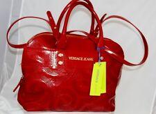 BNWT Versace Jeans Large Wine Red Patent Tote Shoulder Bag Two Handle Handbag
