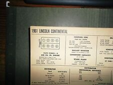 1961 Lincoln Continental EIGHT Series Models 430 Cubic Inch V8 Tune Up Chart
