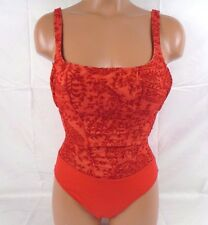 Sauvage Velvet Detail Red One Piece Bathing Suit Small Item #4415L