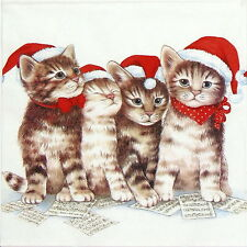 4x mesa única de Papel Fiesta Servilletas Para Decoupage Decopatch gato de Navidad