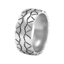 Tire Tread Wedding Band Ring, silver tire ring, mud tire ring TR1437