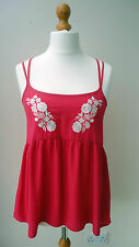 BNWT (£12) GEORGE G21 Deep Pink Spag. Strap Top White Floral Embroidery Size 10