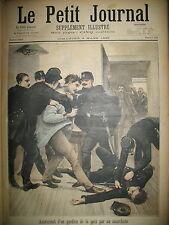 ANARCHISTE ASSASSINAT GARDIEN DE LA PAIX POLICE A PANTIN LE PETIT JOURNAL 1895