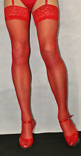 Fabulous Bright RED 15 Denier Luxury Lace Top Medium Size Satin Sheen Stockings