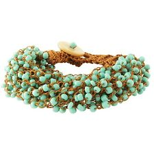 NEW Festival Boho Turquoise Colored Blue Seed Bead Brown Crocheted Bracelet