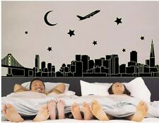 City Night Building Removable Luminous Wall Stickers Home Bedroom Decor Decals