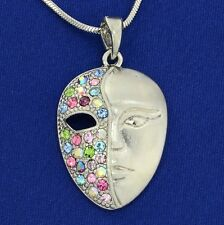 "w Swarovski Crystal Mask Phantom Opera Theater multi Color Necklace 18"" Chain"