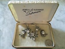 '1950, crystal necklace and earrings, with original box Sherman