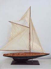 HUGE WOODEN MODEL YACHT SAILING BOAT ORNAMENT 92cm x 110cm
