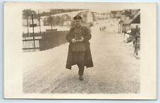 Antique WW1 GERMAN Real Photo RPPC Postcard OFFICER Soldier in Uniform & Coat