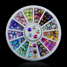 12 Color 3D Nail Art Tips Crystal Glitter Rhinestone DIY Decoration Wheel Qv