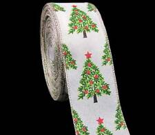 "5 Yds Decorated Christmas Tree Red Green Burlap Like Wired Ribbon 2 1/2""W"