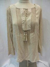 Joseph A Ladies Long Sleeve Blouse New Khaki, US Size M
