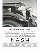 1930's BIG Old Vintage 1931 NASH Luxe Supreme French Car Art Deco Print AD