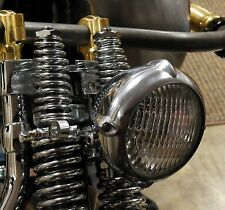 "LOW VINTAGE EARED POLISHED ALUMINUM 4"" HEADLIGHT HARLEY XS650 BOBBER CHOPPER"