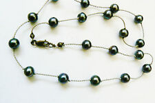 "16.5"" spaced Black Genuine Pearl cord strand Necklace sterling silver clasp"