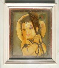 Antique Old Hand Painted Hindu God Baby Krishna Oil & Emboss Painting On Board