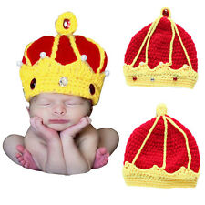 Crochet King Crown Hats Caps Outfits Newborn Baby Boy Girl Photo Costume Props