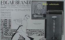 PUBLICITE EDGAR BRANDT FERRONNERIE PENDULE BRONZE DE 1928 FRENCH AD PUB ART DECO