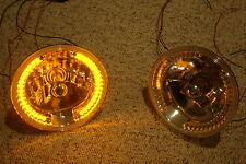 "7"" SNAKE EYE Street Hot Rat Rod H4 Headlights w/ Amber Halo LED Turn Signals"