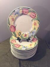 "14 BEAUTIFUL VILLEROY & BOCH ""CANARI"" 8-1/2"" SALAD PLATE FLOWERS AND BUTTERFLIES"
