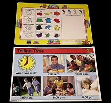 Lot 2 Educational EARLY LEARNING Placemats NEW Time WIPE OFF Activity MATS