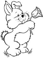 Unmounted Rubber Stamp Bunny Rabbit with Tulip - 7012