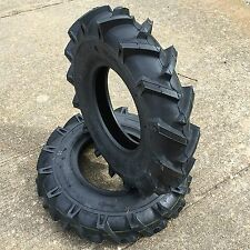 Two New 4.00-8 Deestone D402 Lug Heavy Duty Tiller Tires Garden Tractor Tires