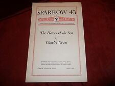 SPARROW 43 The Horses of the Sea by Charles Olsen Apr 1976, Black Sparrow Press