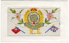 WW1 EMBROIDERED SILK POSTCARD ROYAL ENGINEERS BADGE/EMBLEM-FLAGS-INSERT CARD