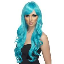 Womens Girls Blue Desire Wig Long Wavy Halloween Katy Perry Colour Hair Mermaid