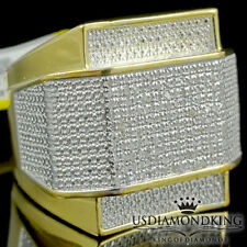 MEN'S NEW YELLOW GOLD FINISH REAL GENUINE 1/2CT DIAMOND BIG EPIC RING PINKY BAND