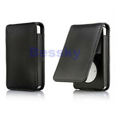 Black Leather Flip Case Cover Skin for Apple iPod Classic 80 120GB Tide