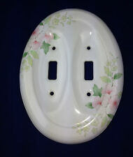 porcelain light switch cover white with pink Hibiscus flowers oval porcelain