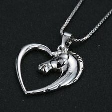 New Silver Tone Horse Heart Pendant Necklace Jewelry Women Charm Chain