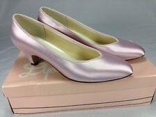 Vintage Dyeables Pink Satin Pumps Formal Size 7 B Made in USA Wedding Shoes
