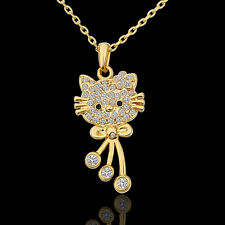 18K Gold plated 3 colors available Cute Hello Kitty Cat pendant Womens Necklace