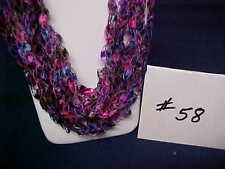 Handmade Crocheted Ladder Trellis Ribbon Necklace -  #58 - Begonia