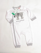 L115/18 BNWT H&M Baby Boy's/Girl's Cream Cotton Romper with Dogs, 3-6 months