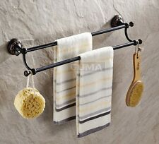 Art Carved Oil Rubbed Bronze Double Towel Bar Wall Mounted Bath Towel Rack