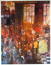 """Bernie Fuchs """"Chicago Board of Trade"""" Lithograph 38""""x 27"""" Signed Limited Edition"""