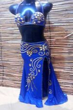 Egyptian Belly Dance Costume bra & Skirt Set Professional Dancing Blue Beads