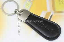 Boxed AUDI Leather Keyring NEW UK Seller Black Silver