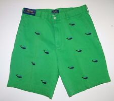 Polo Ralph Lauren Men's 100% Cotton Green Navy Embroid Shorts Size 35 Sale NWT