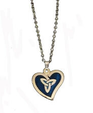 GOLD PLATED AND BLUE  ENAMEL WAVE HEART WITH CELTIC TRINITY NECKLACE (7431)