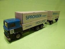 TEKNO SCANIA 141 TRUCK + TRAILER - SPRONSEN - BLUE + GREY 1:50 - GOOD CONDITION