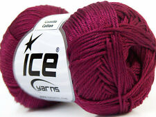 Lot of 6 Skeins Ice Yarns CAMILLA COTTON (100% Mercerized Cotton) Yarn Dark F...