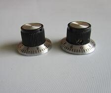 6pcs Vintage Guitar Top Hat AMP Knob Effect Pedal Knobs Black/Chrome Top