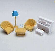 Miniature DollHouse Furniture Piano Sofa Lamp set for Sylvanian Families 1:16