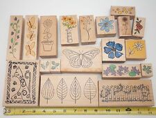 Lot Of 19 Rubber Wooden Stamps Assorted Sizes: Cat, Butterfly, & Flower